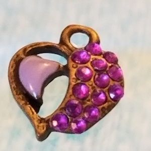 NWT GLP Mini Heart Pendant Purple Glass Crystals